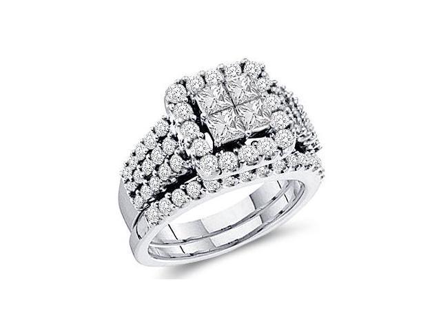 Diamond Engagement Rings Bridal Set 14k White Gold Wedding (4.00 CT)