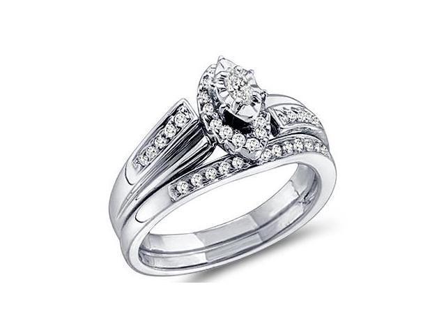 Diamond Engagement Rings Set Wedding Band 14k White Gold (0.33 Carat)