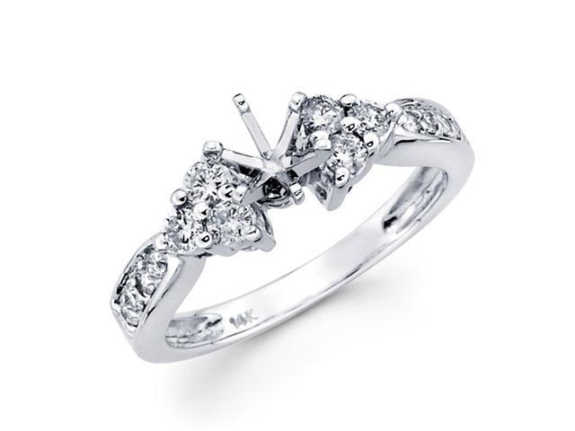 Semi Mount Diamond Engagement Ring 14k White Gold Setting (0.45 Carat)