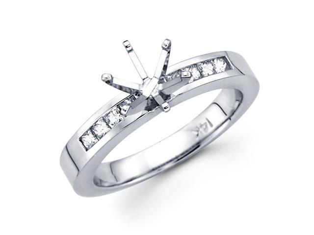Diamond Engagement Ring 14k White Gold Princess Channel Set (1/3 CTW)