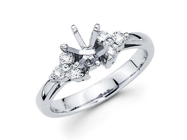 Semi Mount Diamond Engagement Ring 14k White Gold Setting (1/4 Carat)