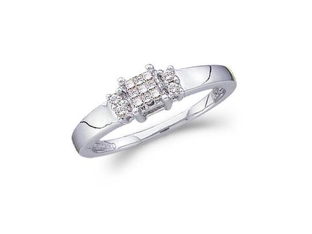 Diamond Ring Engagement 14k White Gold Princess Solitaire Set (0.15ct)