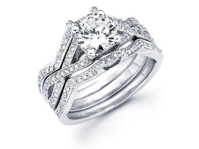 Semi Mount Diamond Engagement Rings Set 18k White Gold Fancy Bridal