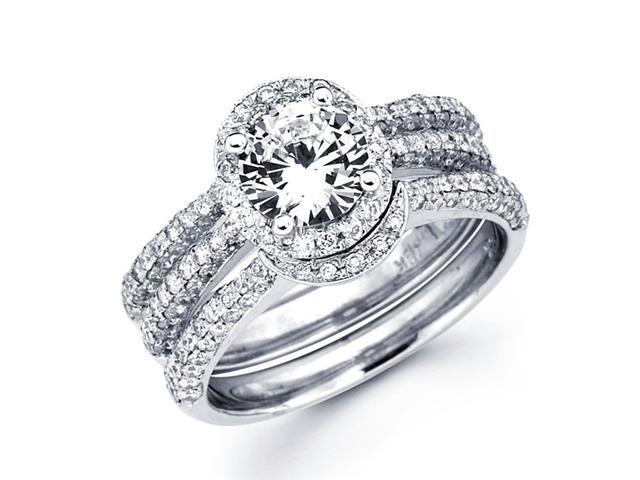 Cirque Diamond Engagement Rings Set Semi Mount  18k White Gold Wedding