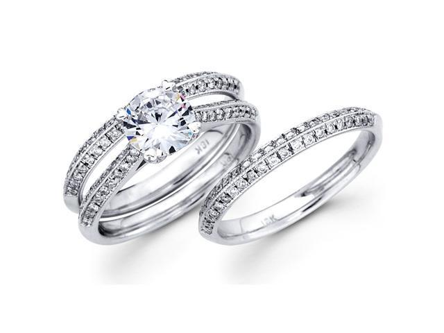 Semi Mount Diamond Engagement Rings Wedding Set 18k White Gold (3/4ct)