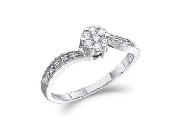 Diamond Ring Engagement Round Solitaire Set 10k White Gold (1/4 Carat)