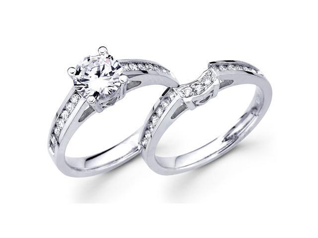 Semi Mount Diamond Engagement Rings Wedding Set 18k White Gold 1/2 CT