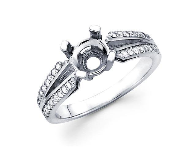 Semi Mount Diamond Engagement Ring White Gold Split Shank Set 1/4 CT