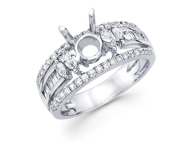 Setting with Sidestones Diamond Engagement Ring 18k White Gold