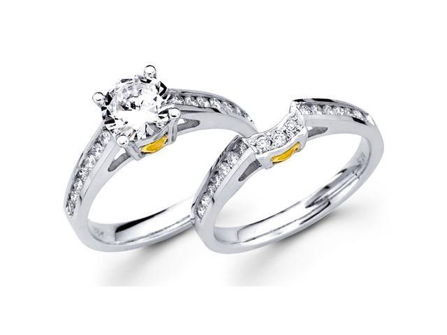Semi Mount Diamond Engagement Rings Set 18k Multi-Tone Gold Wedding