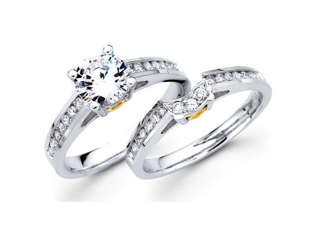 Semi Mount Diamond Engagement Rings Set Multi-Tone Gold Wedding Bands