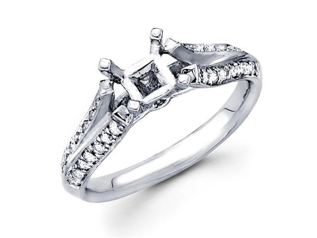 Semi Mount Diamond Engagement Ring White Gold Pave Split Shank 1/4 CT