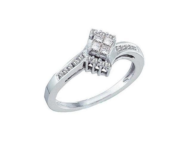 Diamond Engagement Ring 14k White Gold Princess Bridal (1/4 Carat)