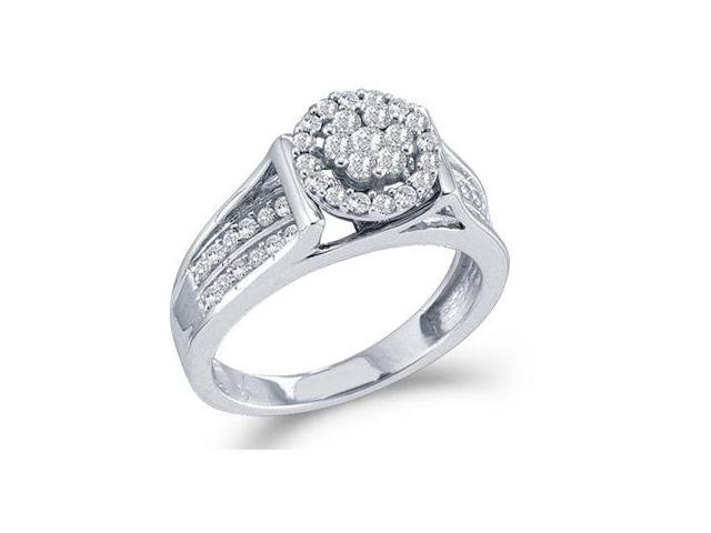 Diamond Engagement Ring 14k White Gold Bridal Cluster (1/2 CTW)