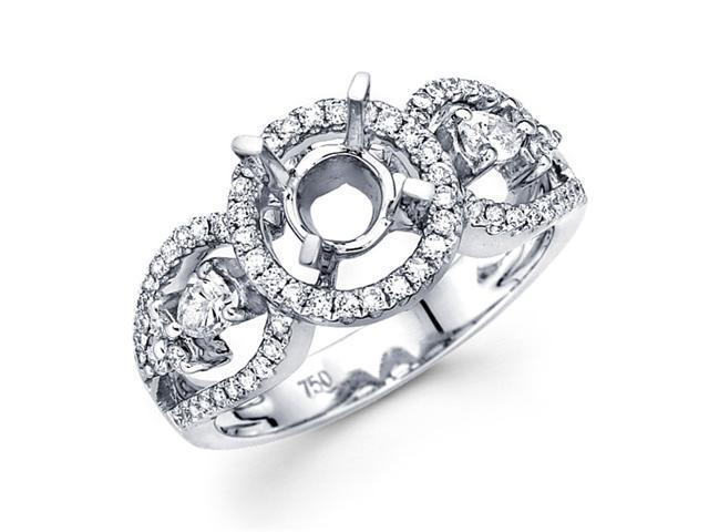 Setting with Sidestones Pear Diamond Engagement Ring 18k White Gold