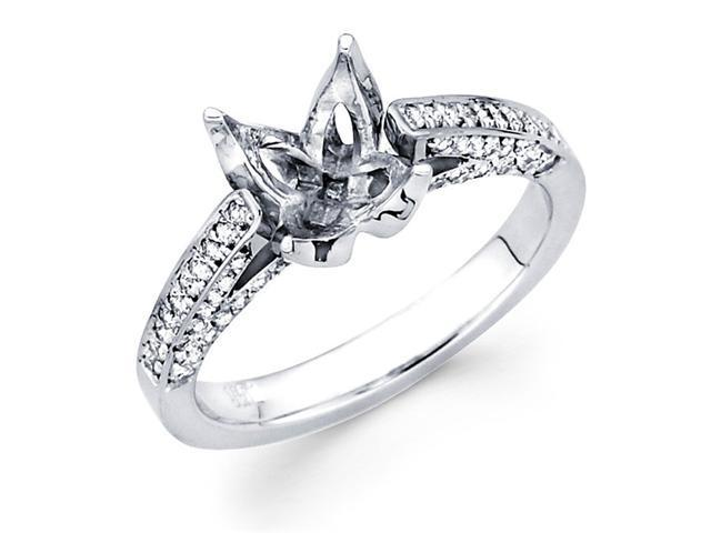 Semi Mount Diamond Engagement Ring 14k White Gold Fancy Prong Pave Set