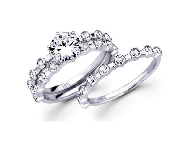 Semi Mount Diamond Engagement Rings Set Wedding 18k White Gold 1/2 CT