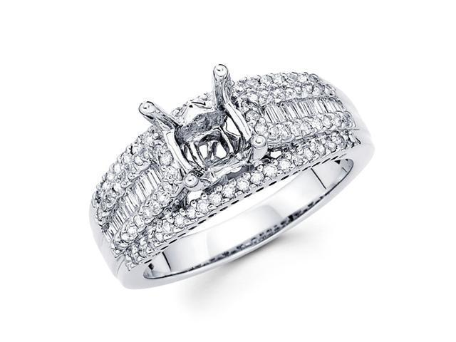Setting with Sidestones Diamond Engagement Ring 18k White Gold .61 CT