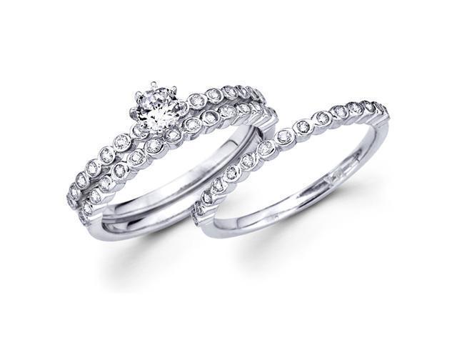 Diamond Semi Mount Engagement Rings Set Wedding 18k White Gold Bridal