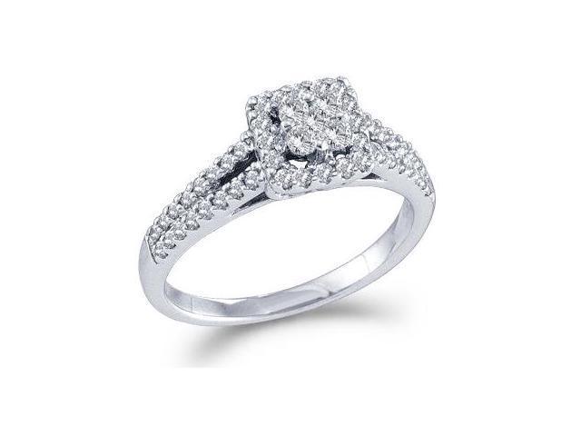 Diamond Engagement Ring 14k White Gold Bridal Anniversary (1/2 Carat)