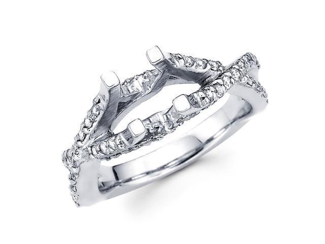 Semi Mount Diamond Engagement Ring 14k White Gold Split Shank 1/2 CTW