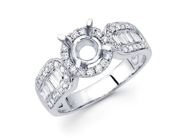 Setting with Sidestones Diamond Engagement Ring 18k White Gold 0.61 CT