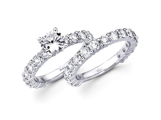 Diamond Semi Mount Engagement Rings Set Eternity 18k White Gold 3.40ct
