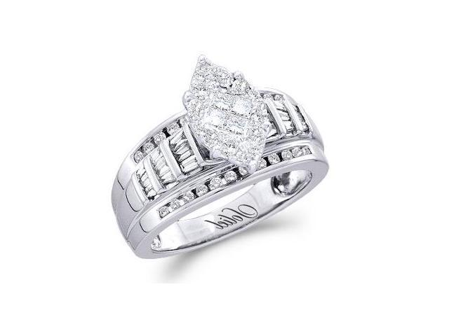 Diamond Engagement Ring 14k White Gold Marquise Shape (0.92 CTW)