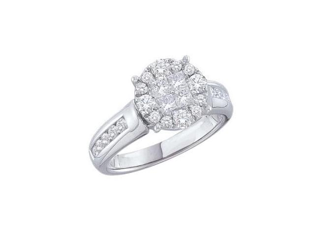 Diamond Engagement Ring 14k White Gold Bridal (1.04 Carat)