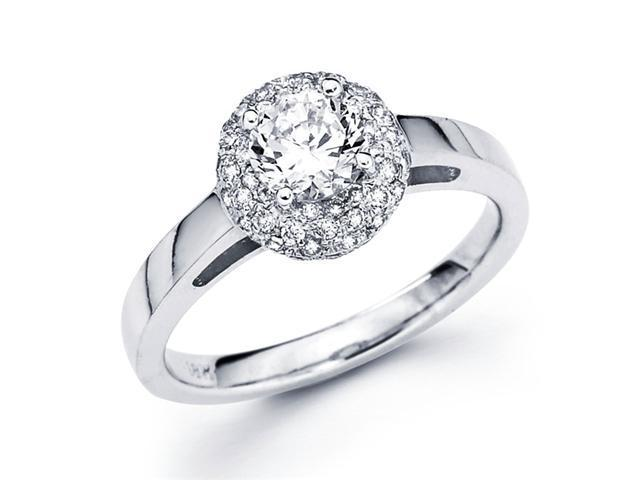 Semi Mount Diamond Engagement Ring 14k White Gold Cluster Set 1/3 CT
