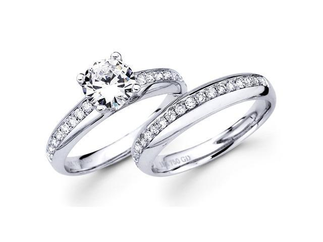Semi Mount Diamond Engagement Rings Set 18k White Gold Bridal 1/3 CTW