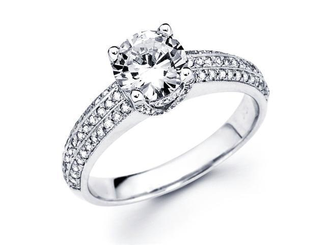 Semi Mount Diamond Engagement Ring 14k White Gold Pave Setting (1/3ct)