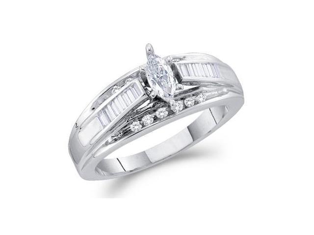Marquise Diamond Engagement Ring 14k White Gold Anniversary (1/2 CTW)