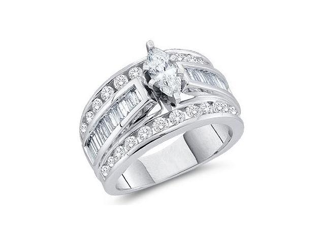 Marquise Diamond Engagement Ring 14k White Gold Womens (1.50 Carat)