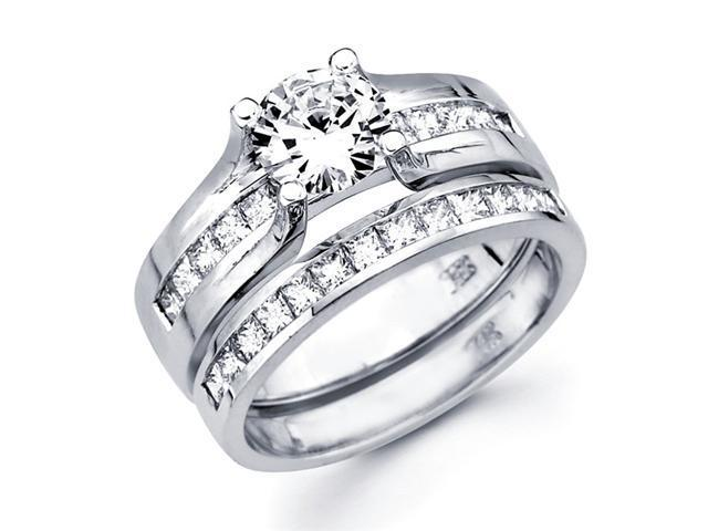 Semi Mount Diamond Engagement Rings Set 14k White Gold Bridal 1.05 CT