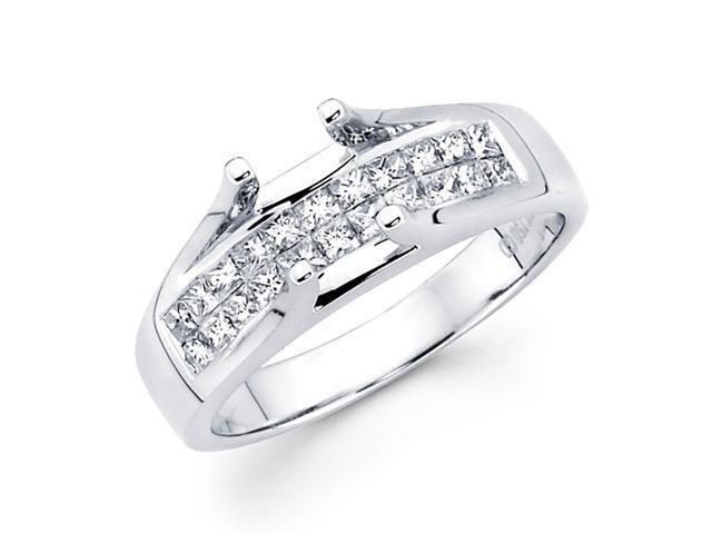 Setting Sidestones Diamond Engagement Ring 18k White Gold Princess