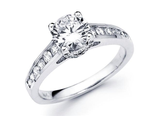Semi Mount Diamond Engagement Ring 14k White Gold Channel Set 0.42 CT