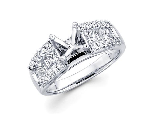 Setting with Sidestones Diamond Engagement Ring 18k White Gold 0.89 CT