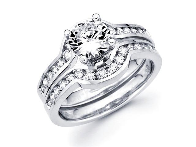 Semi Mount Diamond Engagement Rings Set 18k White Gold Bridal 3/4 CT