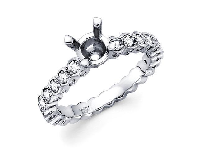 Semi Mount Diamond Engagement Ring White Gold Half Eternity Setting