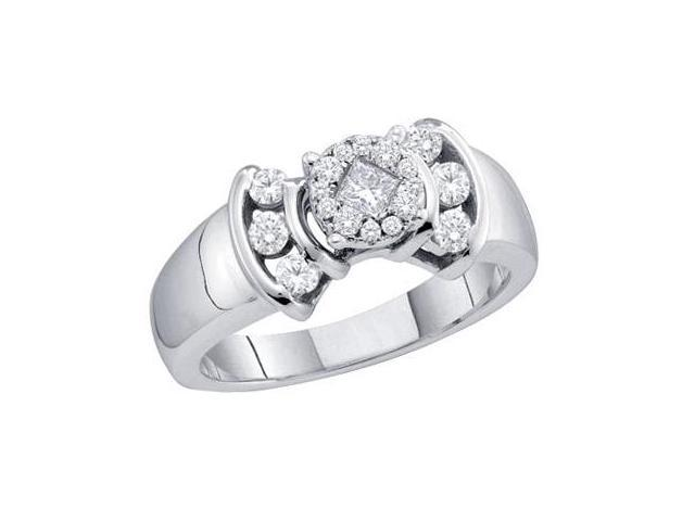 Diamond Anniversary Ring 14k White Gold Bridal (1/2 Carat)