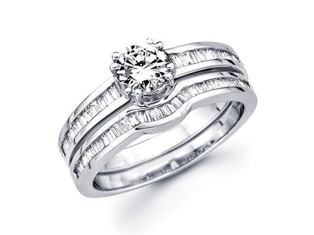 Semi Mount Diamond Engagement Rings Set 18k White Gold Wedding 3/4 CT