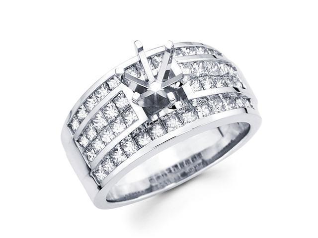 Semi Mount Diamond Engagement Ring 14k White Gold Princess Channel Set