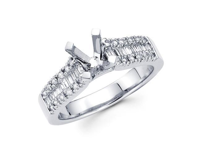 Setting with Sidestones Diamond Engagement Ring 18k White Gold 0.45 CT