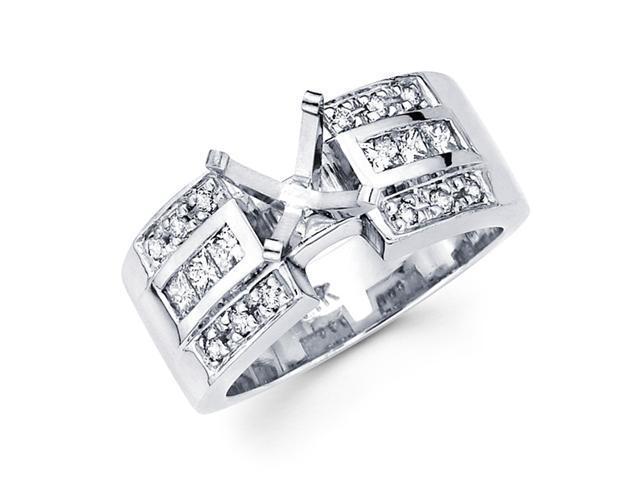 Semi Mount Diamond Engagement Ring 14k White Gold Channel Pave Set