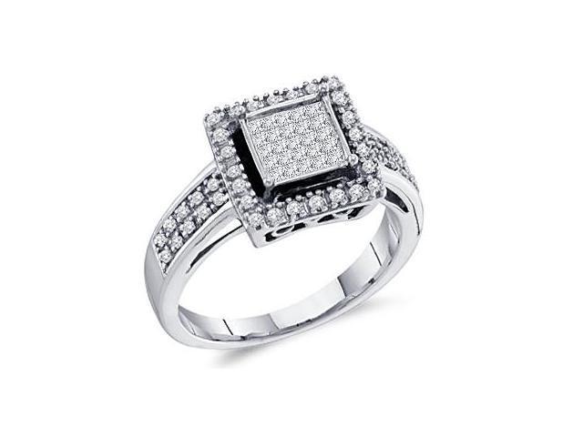 Princess Diamond Ring Engagement Anniversary 10k White Gold (1/3 CTW)