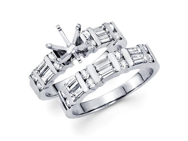 Diamond Bridal Rings Set 14k White Gold Wedding Band (1.32 CTW)