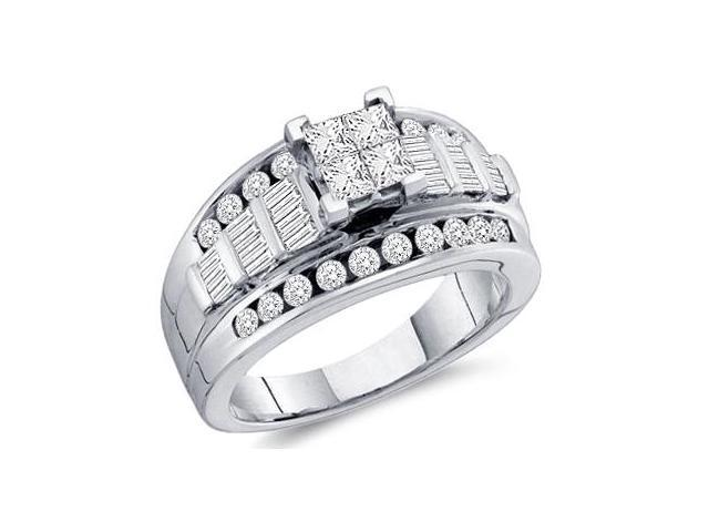 Princess Diamond Engagement Ring 14k White Gold Bridal (1.00 Carat)