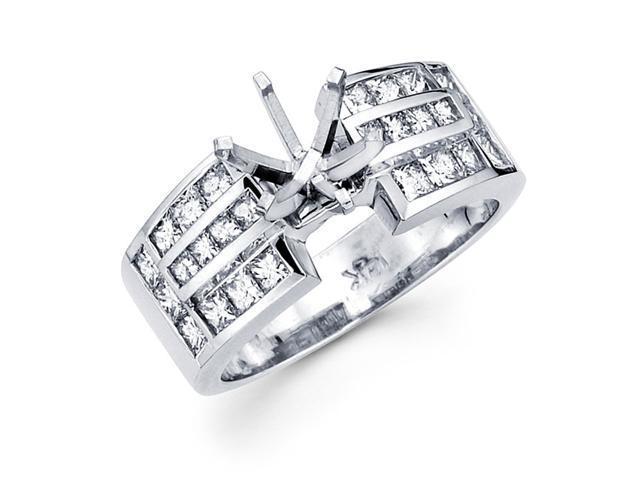 Diamond Engagement Ring Semi Mount 14k White Gold Princess Channel
