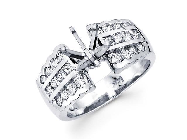 Semi Mount Diamond Engagement Ring 14k White Gold Channel Set 1.22 CT